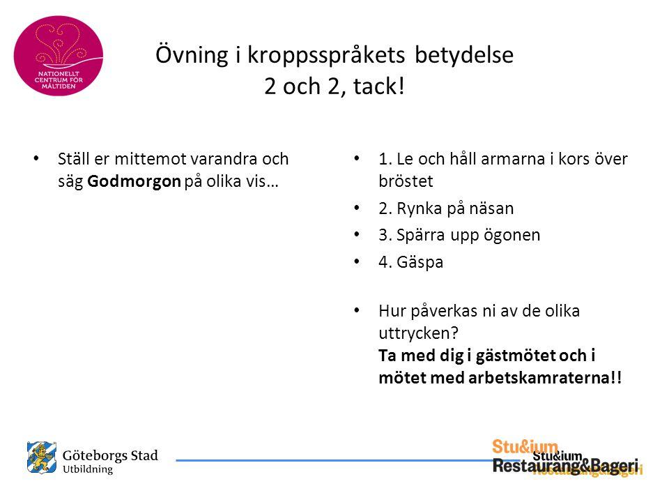 Övning i kroppsspråkets betydelse 2 och 2, tack!