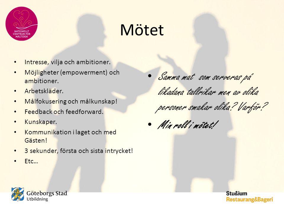 Mötet Intresse, vilja och ambitioner. Möjligheter (empowerment) och ambitioner. Arbetskläder. Målfokusering och målkunskap!