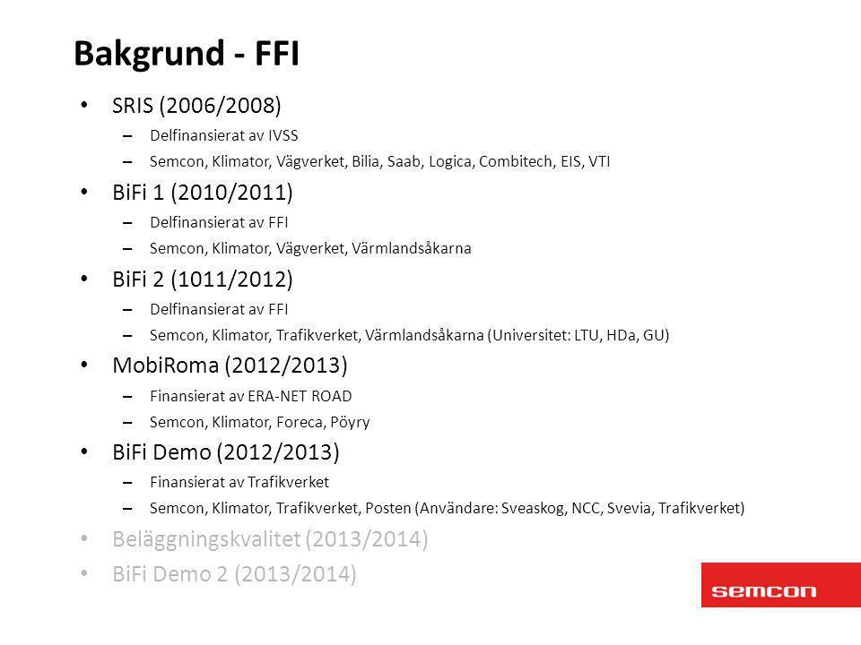 Bakgrund - FFI SRIS (2006/2008) BiFi 1 (2010/2011) BiFi 2 (1011/2012)