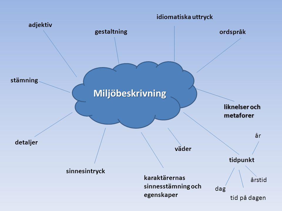 Miljöbeskrivning idiomatiska uttryck ordspråk adjektiv gestaltning