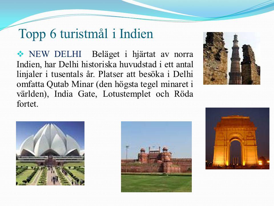 Topp 6 turistmål i Indien