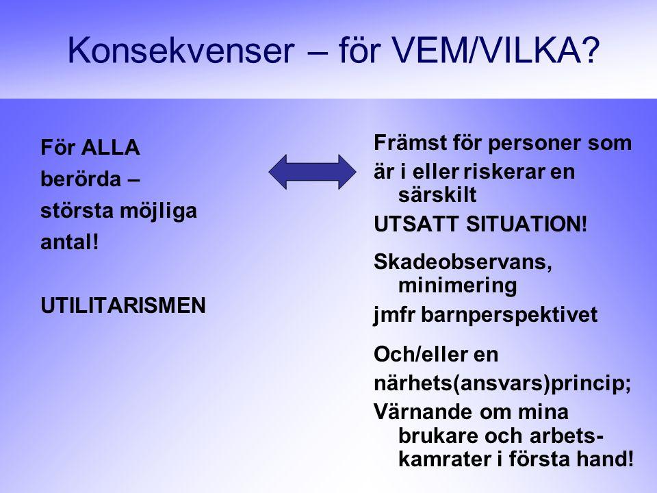 Konsekvenser – för VEM/VILKA