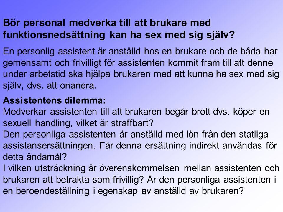 Bör personal medverka till att brukare med funktionsnedsättning kan ha sex med sig själv.