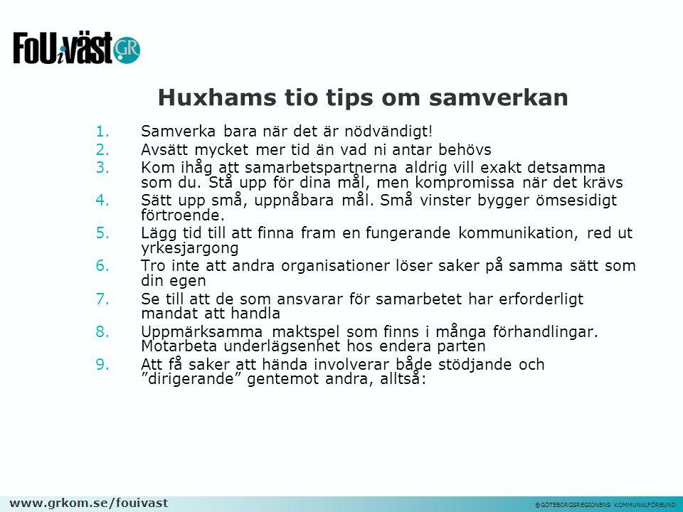 Huxhams tio tips om samverkan