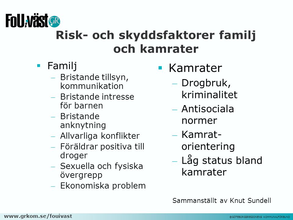 Risk- och skyddsfaktorer familj och kamrater