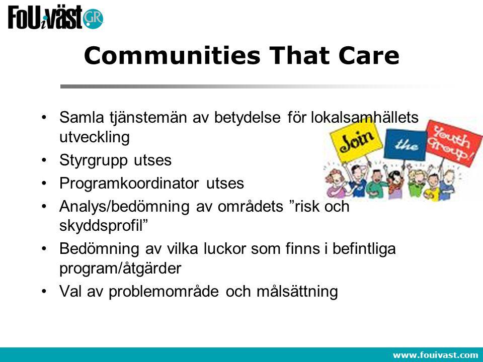 Communities That Care Samla tjänstemän av betydelse för lokalsamhällets utveckling. Styrgrupp utses.