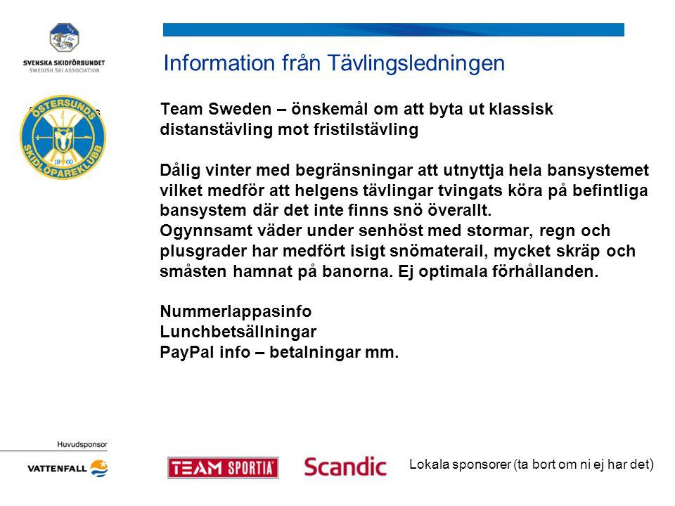 Information från Tävlingsledningen