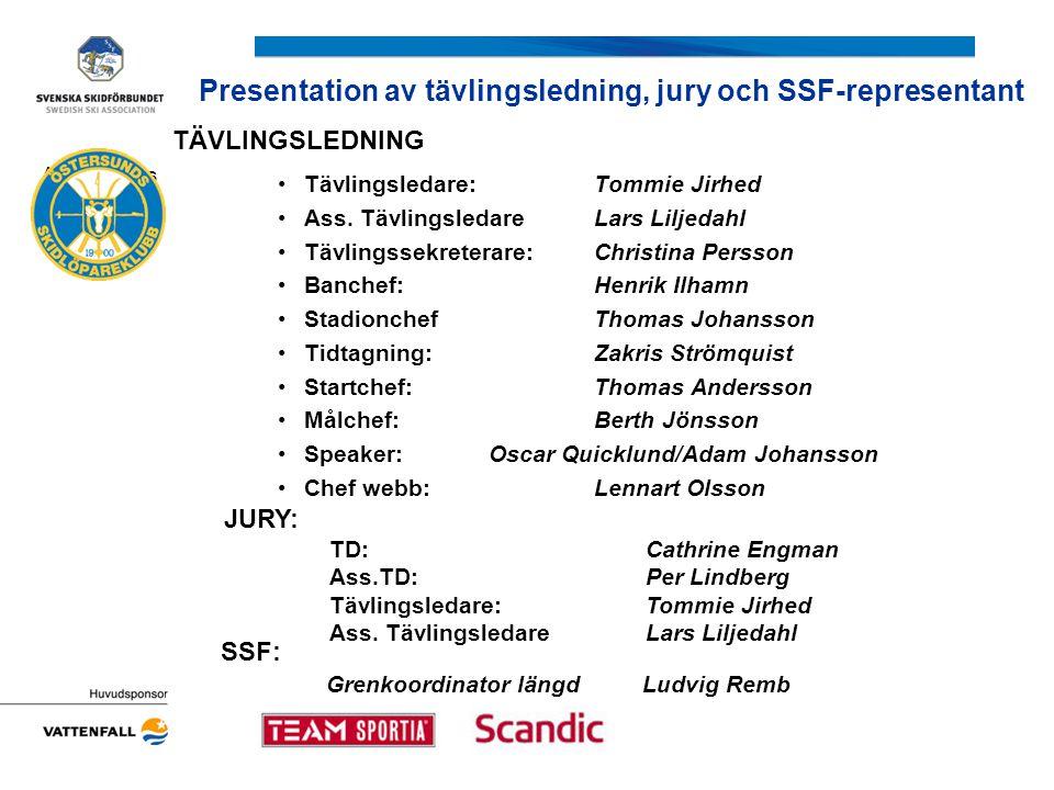 Presentation av tävlingsledning, jury och SSF-representant