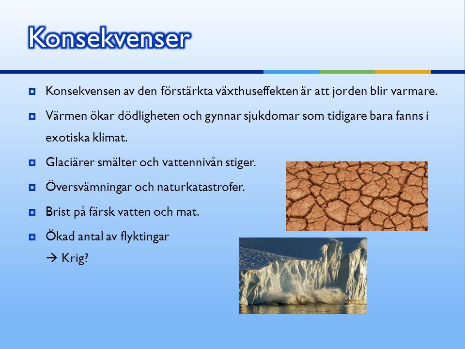 Konsekvenser Konsekvensen av den förstärkta växthuseffekten är att jorden blir varmare.