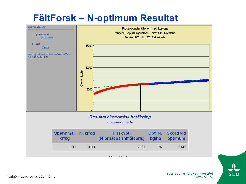 FältForsk – N-optimum Resultat