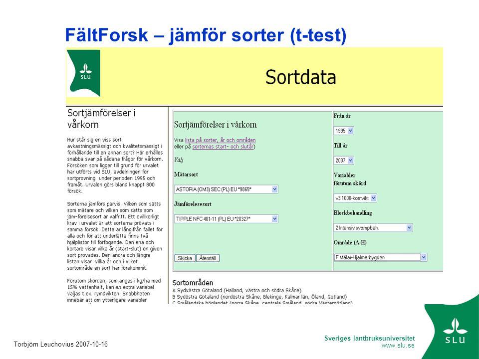 FältForsk – jämför sorter (t-test)