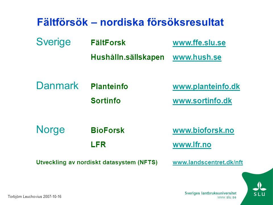 Fältförsök – nordiska försöksresultat