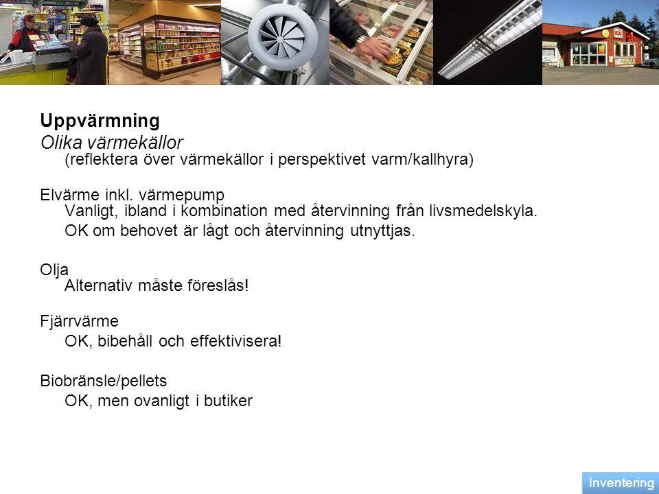 Uppvärmning Olika värmekällor (reflektera över värmekällor i perspektivet varm/kallhyra)