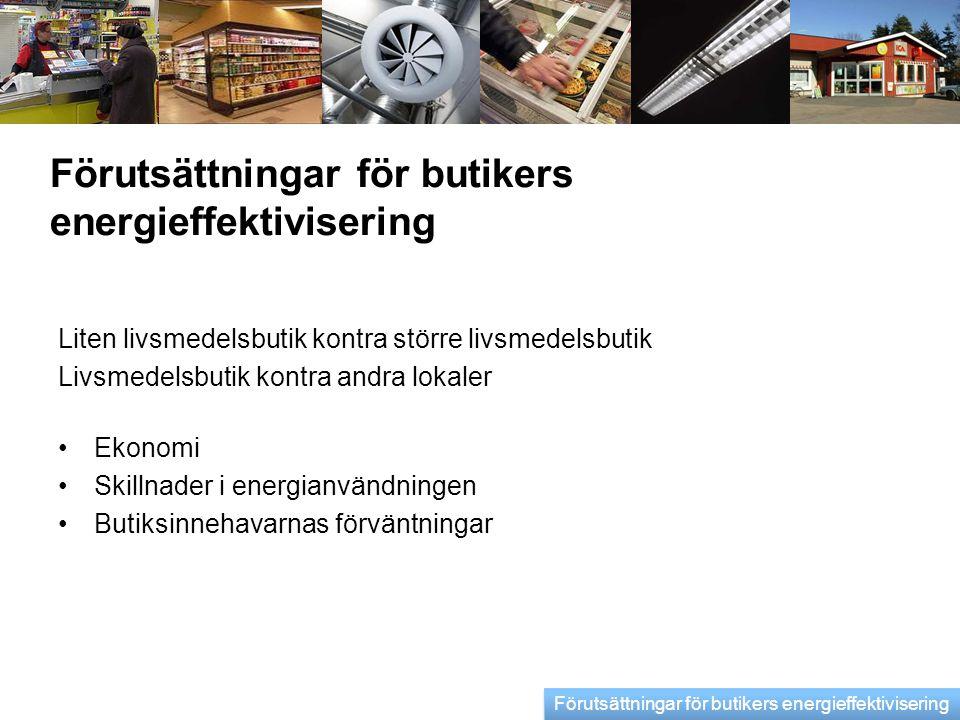 Förutsättningar för butikers energieffektivisering