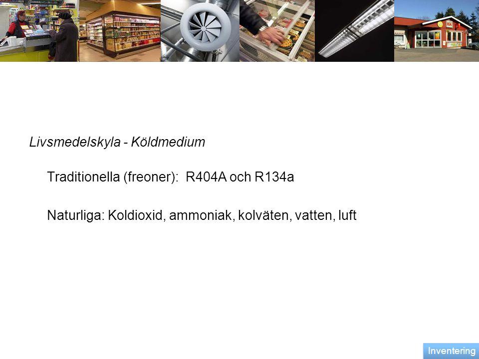 Livsmedelskyla - Köldmedium Traditionella (freoner): R404A och R134a