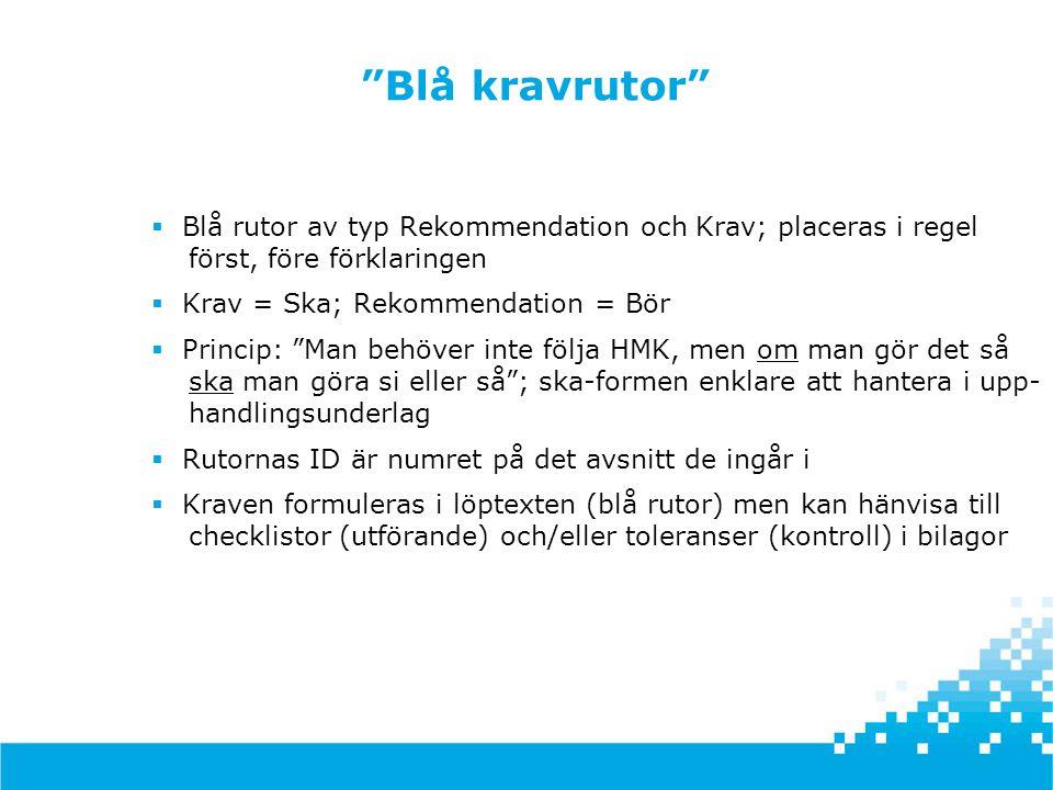Blå kravrutor Blå rutor av typ Rekommendation och Krav; placeras i regel först, före förklaringen.