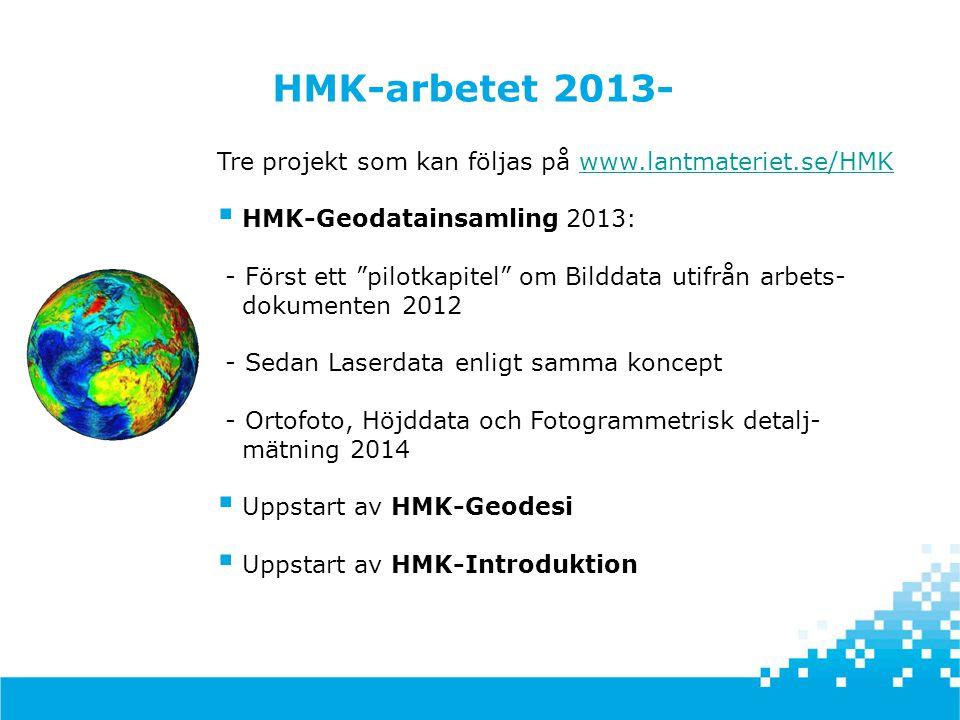 HMK-arbetet 2013- Tre projekt som kan följas på www.lantmateriet.se/HMK.
