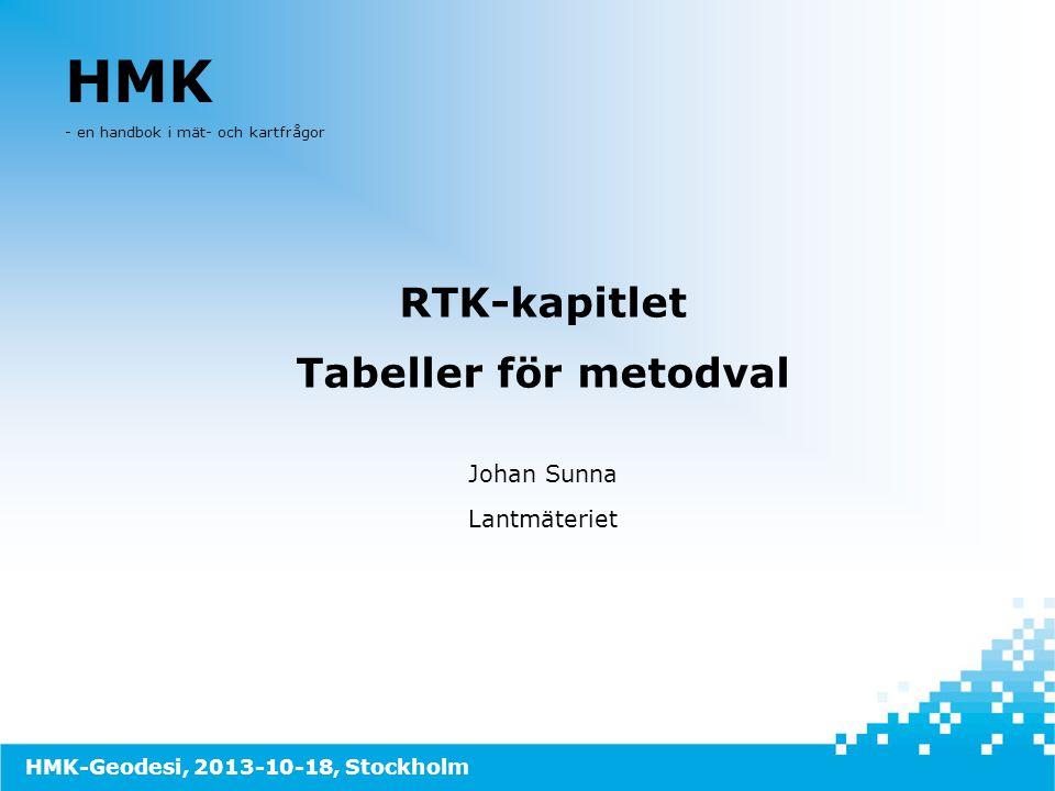 HMK RTK-kapitlet Tabeller för metodval Johan Sunna Lantmäteriet