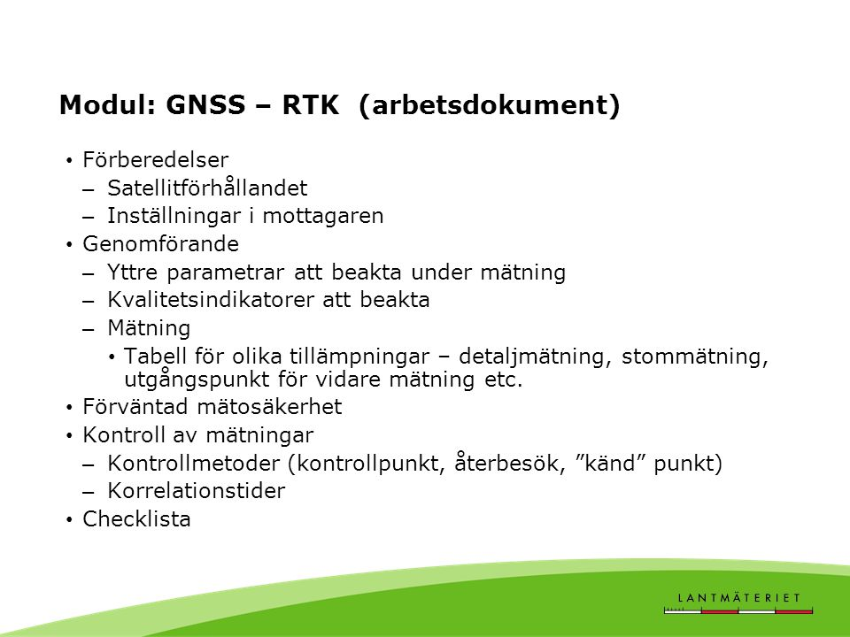 Modul: GNSS – RTK (arbetsdokument)