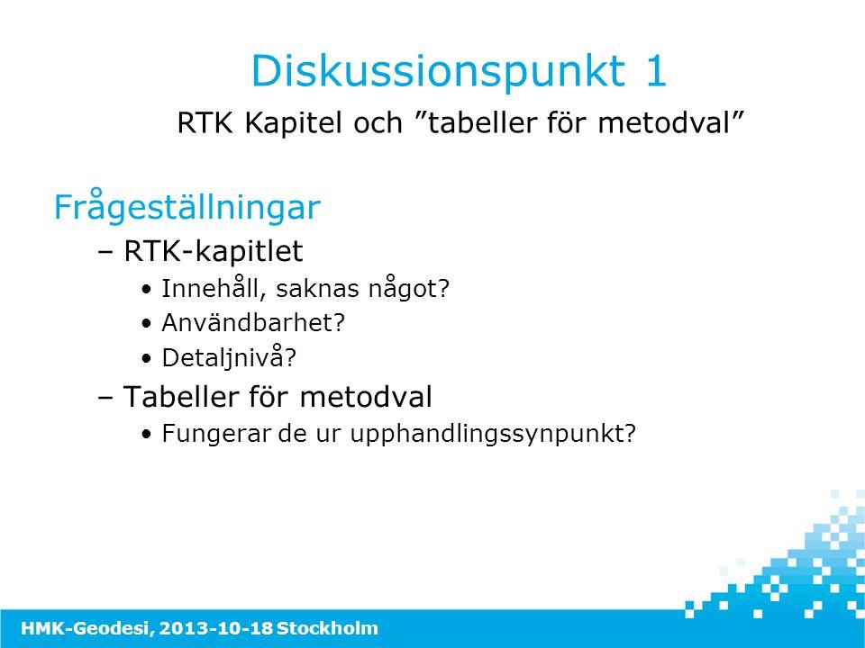 RTK Kapitel och tabeller för metodval