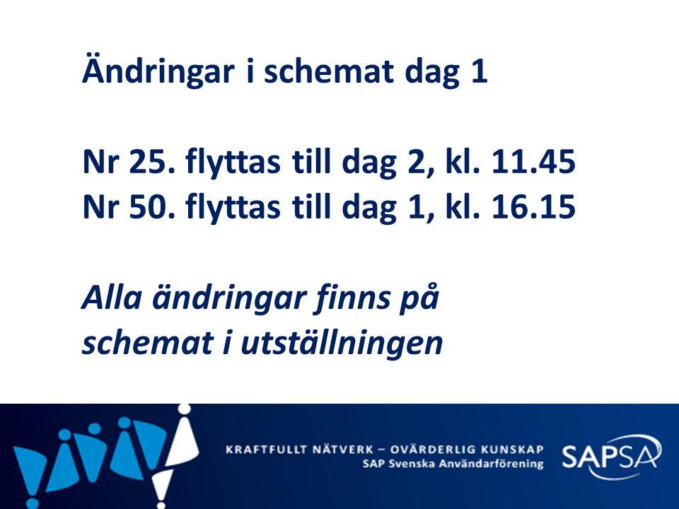 Ändringar i schemat dag 1