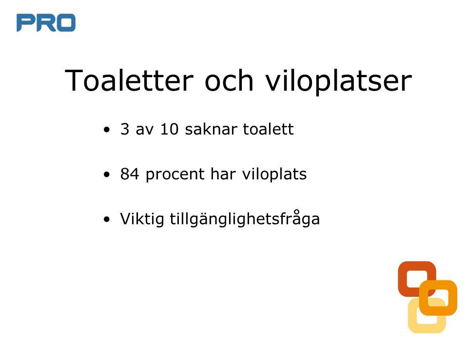 Toaletter och viloplatser