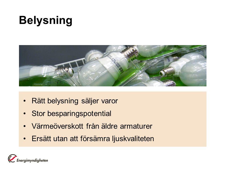 Belysning Rätt belysning säljer varor Stor besparingspotential
