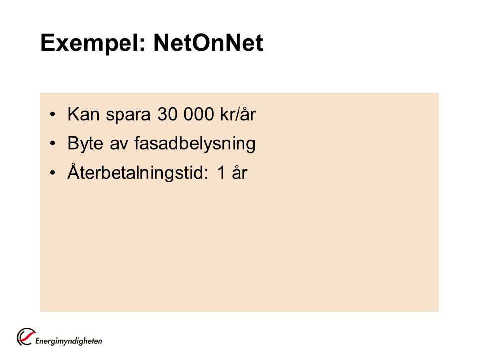 Exempel: NetOnNet Kan spara 30 000 kr/år Byte av fasadbelysning