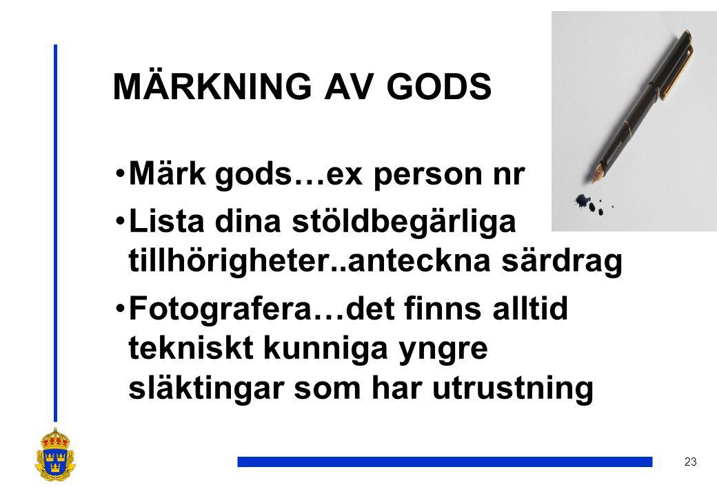 MÄRKNING AV GODS Märk gods…ex person nr