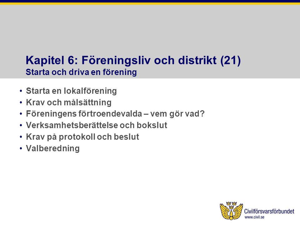 Kapitel 6: Föreningsliv och distrikt (21) Starta och driva en förening