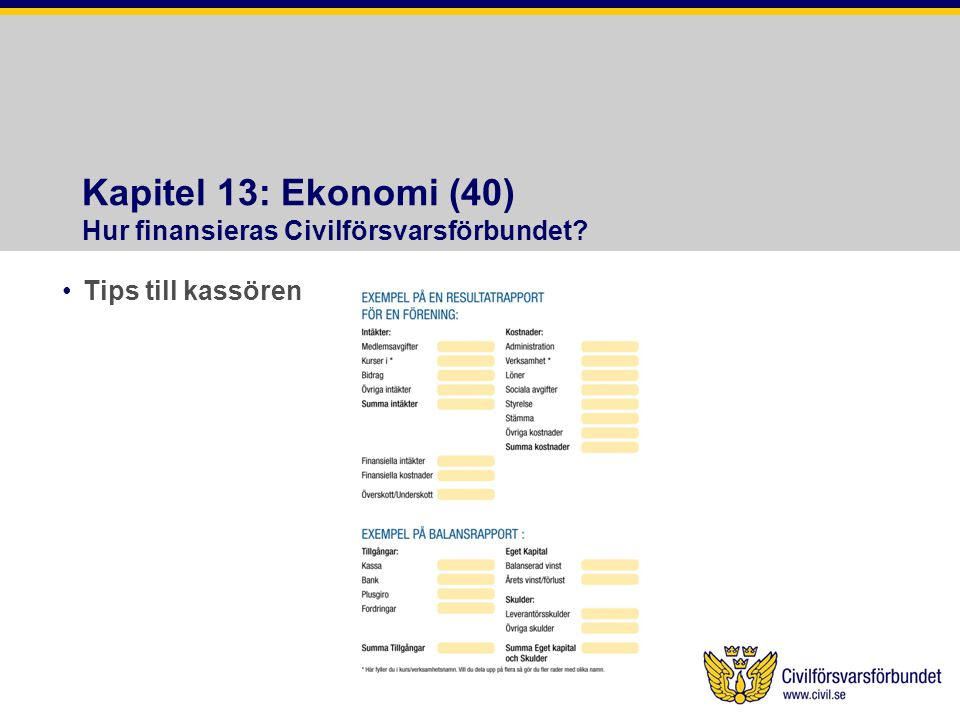 Kapitel 13: Ekonomi (40) Hur finansieras Civilförsvarsförbundet