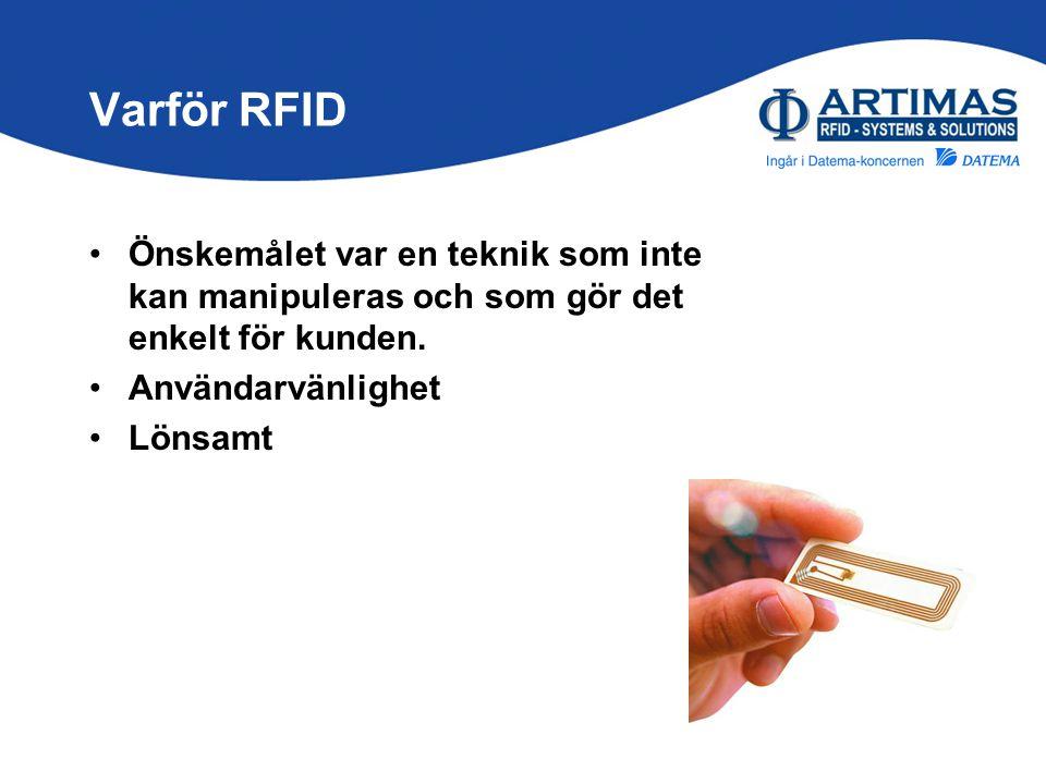 Varför RFID Önskemålet var en teknik som inte kan manipuleras och som gör det enkelt för kunden. Användarvänlighet.