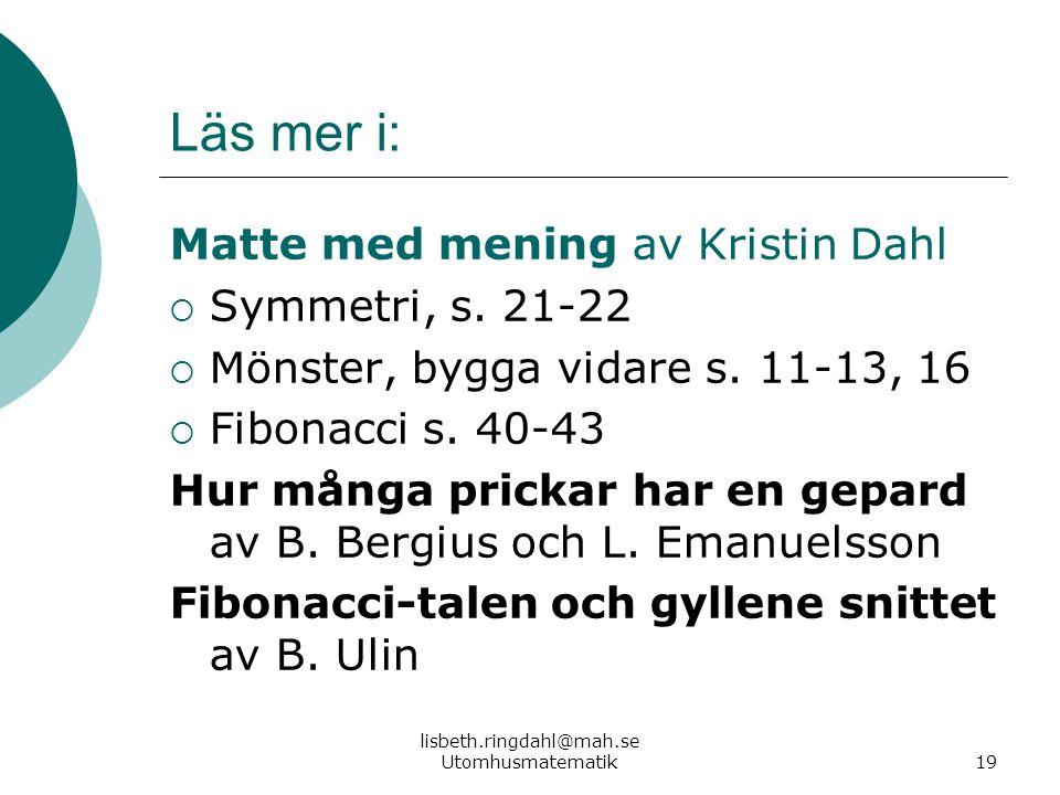 lisbeth.ringdahl@mah.se Utomhusmatematik
