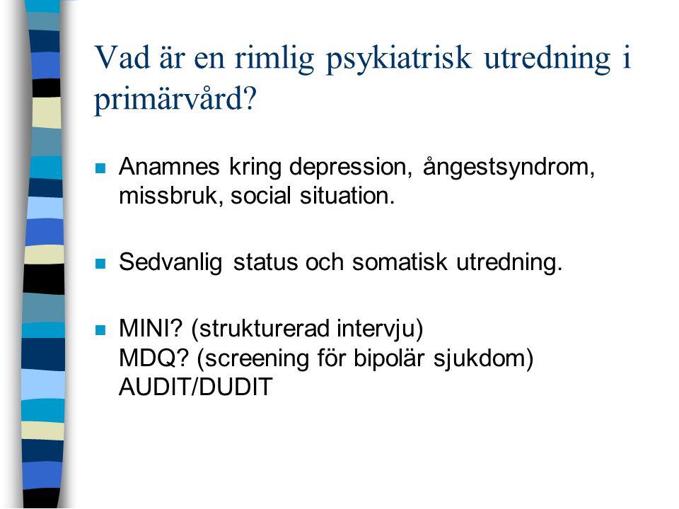 Vad är en rimlig psykiatrisk utredning i primärvård