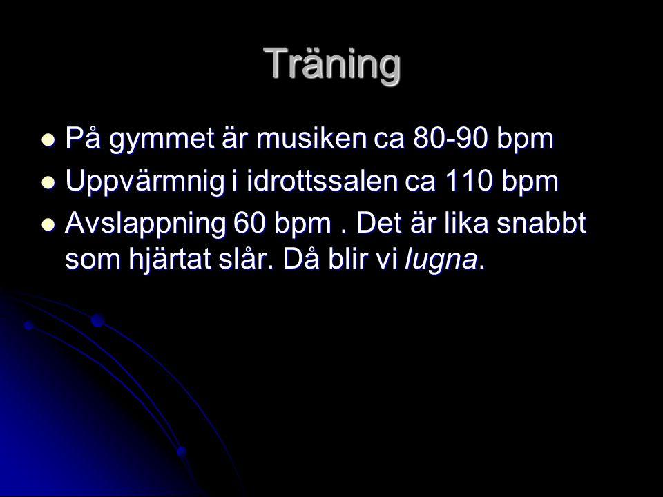 Träning På gymmet är musiken ca 80-90 bpm