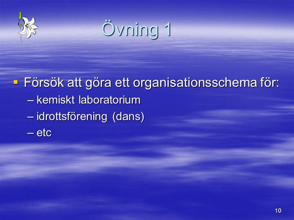 Övning 1 Försök att göra ett organisationsschema för: