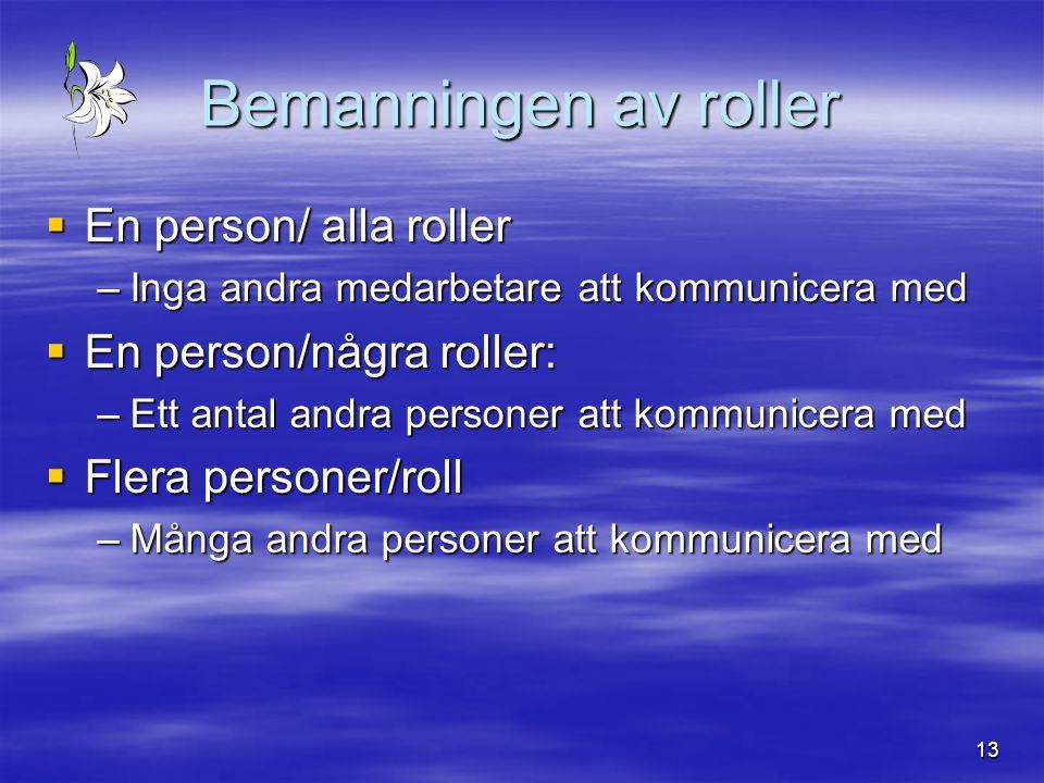 Bemanningen av roller En person/ alla roller En person/några roller: