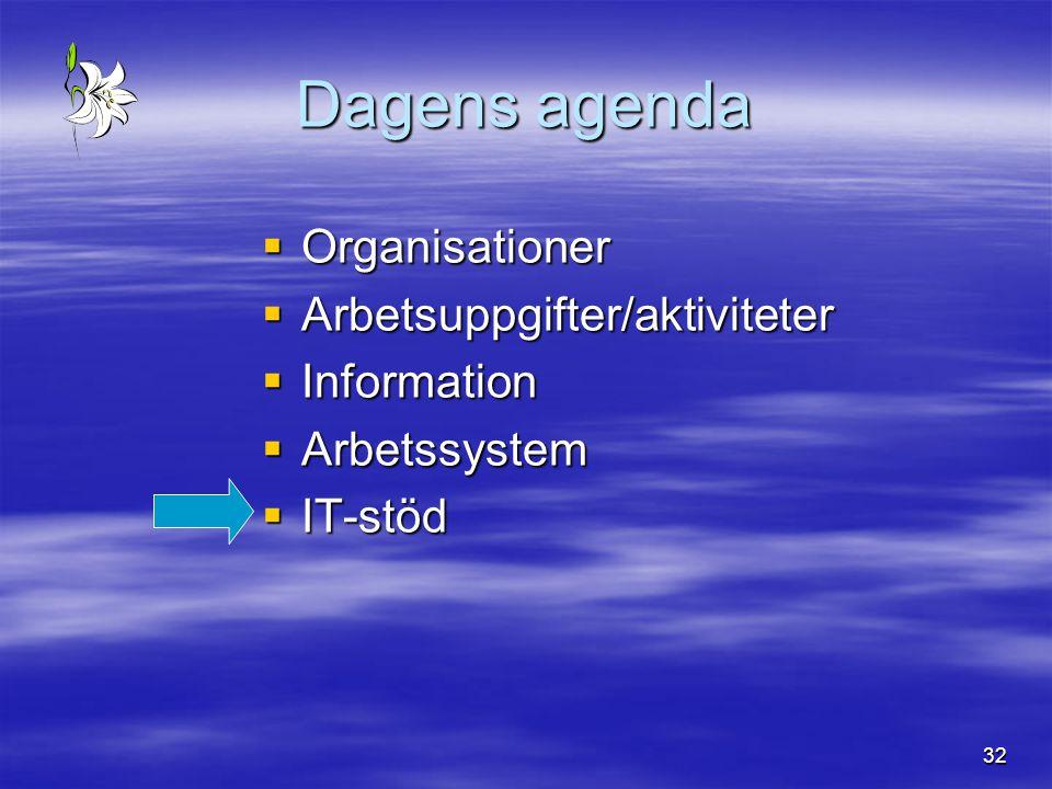 Dagens agenda Organisationer Arbetsuppgifter/aktiviteter Information