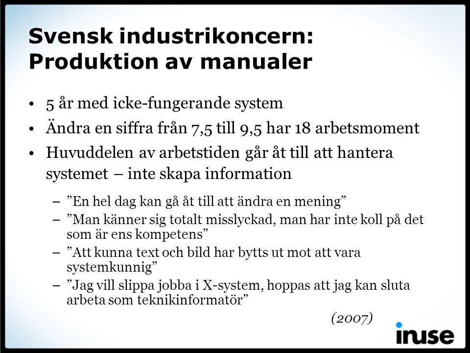 Svensk industrikoncern: Produktion av manualer