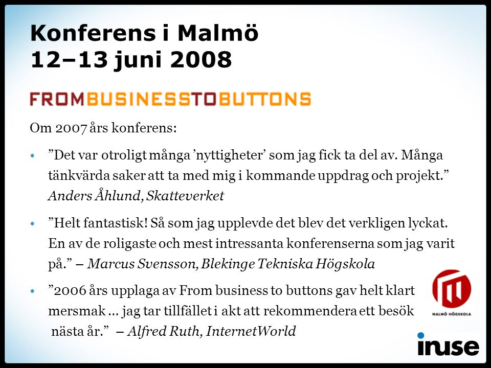 Konferens i Malmö 12–13 juni 2008