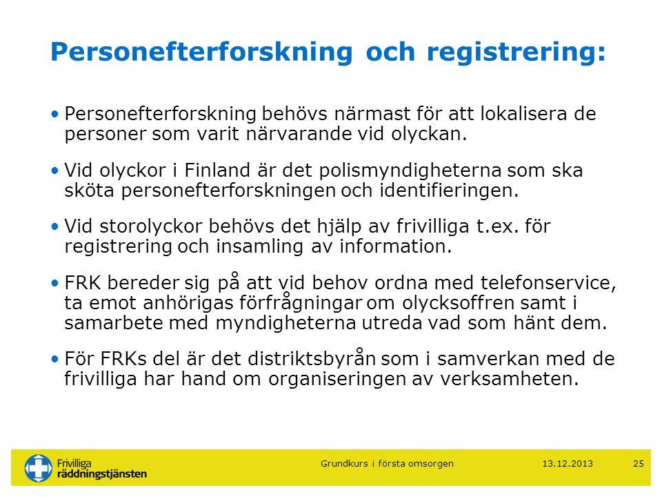 Personefterforskning och registrering: