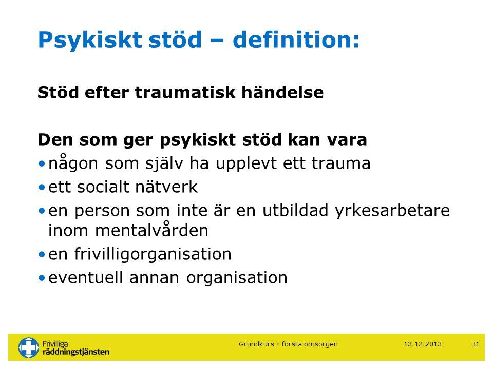 Psykiskt stöd – definition:
