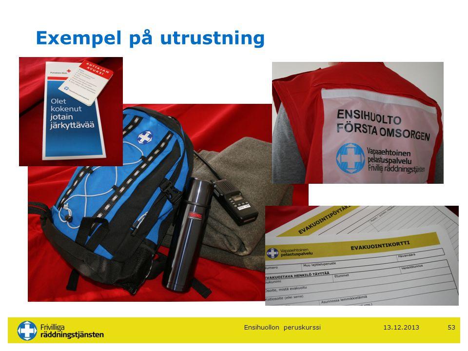 Exempel på utrustning The seinäkuva Ensihuollon peruskurssi 13.12.2013