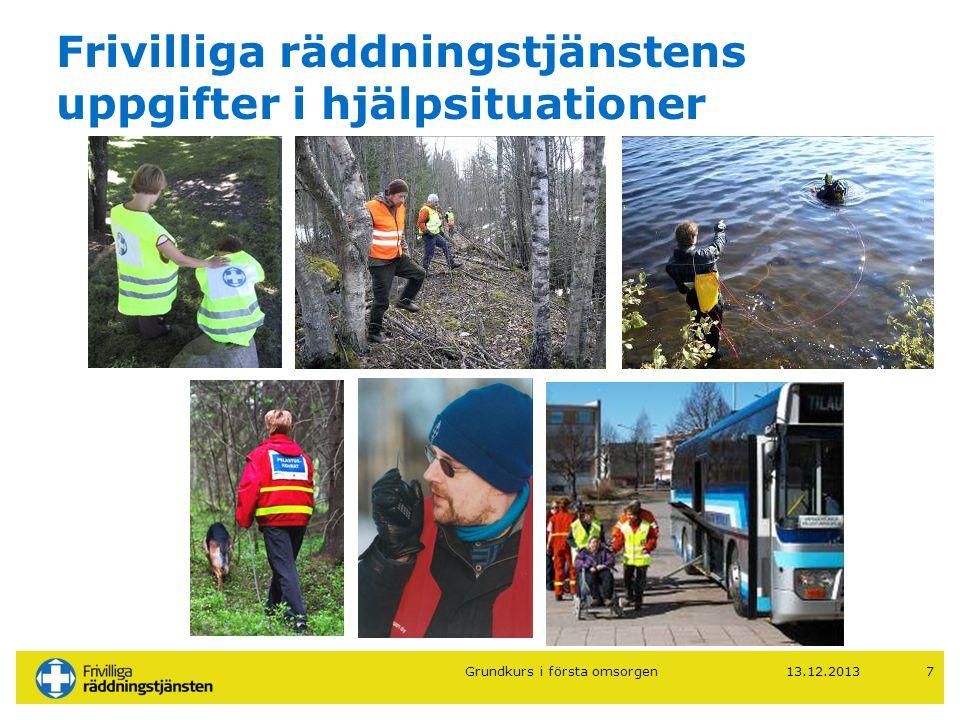 Frivilliga räddningstjänstens uppgifter i hjälpsituationer