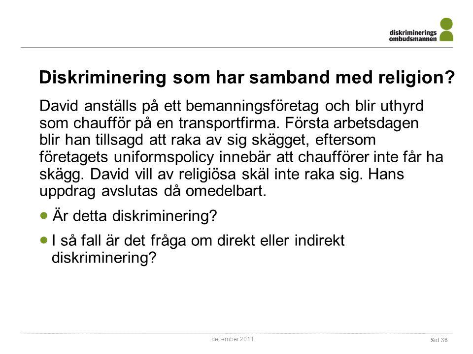 Diskriminering som har samband med religion