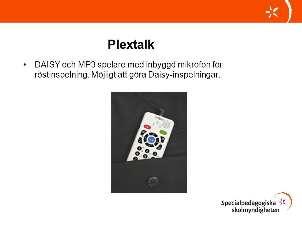 Plextalk DAISY och MP3 spelare med inbyggd mikrofon för röstinspelning.