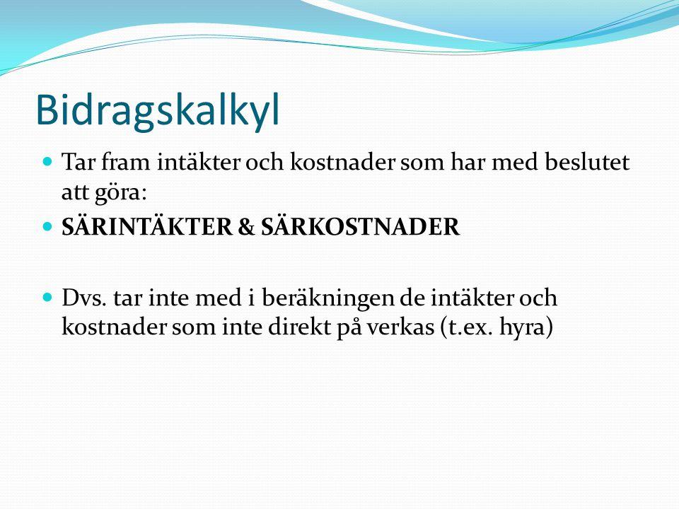 Bidragskalkyl Tar fram intäkter och kostnader som har med beslutet att göra: SÄRINTÄKTER & SÄRKOSTNADER.