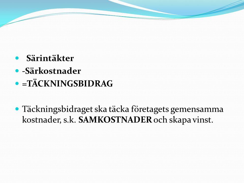 Särintäkter -Särkostnader. =TÄCKNINGSBIDRAG.