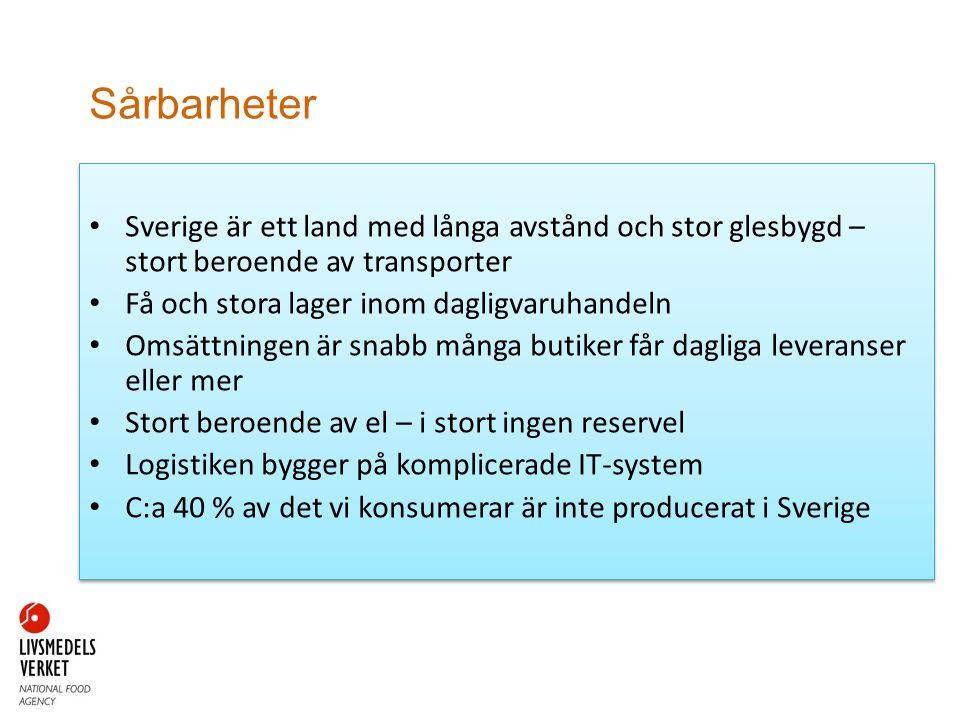 Sårbarheter Sverige är ett land med långa avstånd och stor glesbygd – stort beroende av transporter.