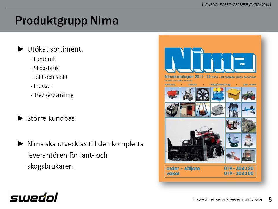Produktgrupp Nima Utökat sortiment. Större kundbas.